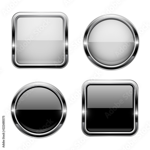 Black and white buttons with chrome frame. Round and square glass ...