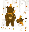 greeting  autumn card / a bear and a squirrel plays music in the autumn forest - 222691547