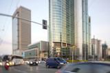 Warszawskie centrum finansowe, drapacze chmur, ulice, niebieskie niebo, Polska