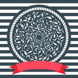 Nautical illustration with shoal of fish swimming in circle and red banner  - 222696162