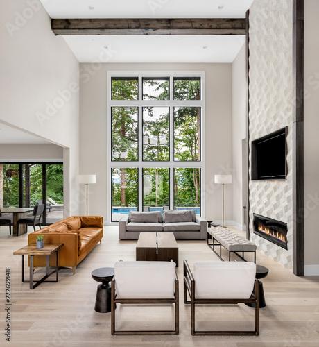 Beautiful Living Room In New Luxury Home Wall Of Windows Floor To Fascinating Hardwood Floors Living Room Exterior