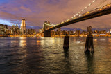 Skyline of New York and Brooklyn bridge at night, New York, USA