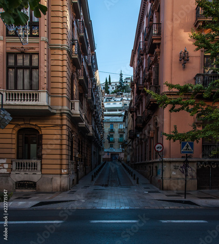 narrow street in granada spain - 222715547