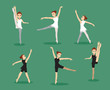 Manga Girl Ballet Three Poses Set Vector Illustration 3 - 222721922