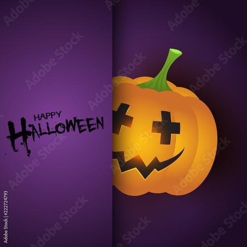 Halloween background with cute pumpkin
