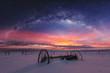 Leinwanddruck Bild - Panoramic winter landscape in sunrise with double exposure night sky landscape