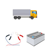 Car, lift, pump and other equipment cartoon icons in set collection for design. Car maintenance station vector symbol stock illustration web. - 222735389