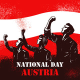 Austrian National Day banner, Illustration of people raising fists on flag of Austria as a background. - 222736139