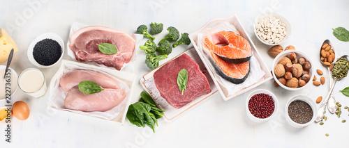Leinwanddruck Bild High protein foods