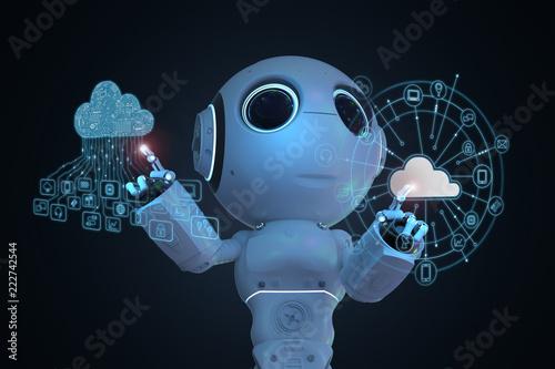 Fototapeta robot with cloud computer