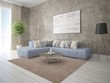 Mock up a perfect living room with a large corner sofa and a trendy hipster background.