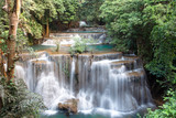 Beautiful Huai Mae Khamin Waterfall In the forest of western Thailand.