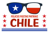 Happy Independence Day Banner with Glasses with Flag of Chile - 222764938