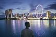 Leinwanddruck Bild - Singapore at dusk