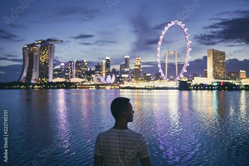 Leinwanddruck Bild Singapore at dusk