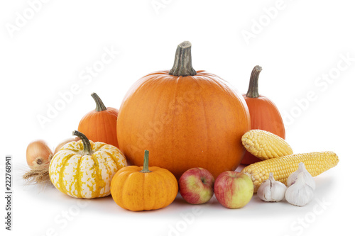 Leinwandbild Motiv Autumn harvest on white