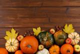 Autumn harvest on wooden table - 222769115