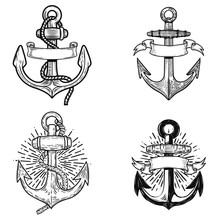 Emblems  Anchors Design Element For Logo Label Sign T Shirt Sticker