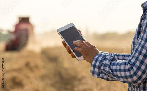 Foto Murales Farmer working on tablet in field during hrvest