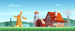 Colorful countryside landscape with a beautiful village house. Rural location. Wheat field. Farm landscape.