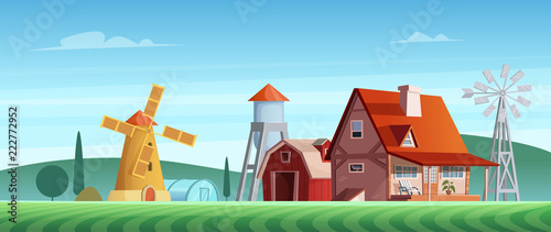 Poster Colorful countryside landscape with a beautiful village house. Rural location. Wheat field. Farm landscape.