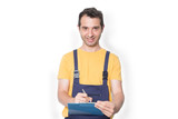 Mechanic worker with clipboard isolated - 222778506