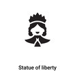 Statue of liberty icon vector isolated on white background, logo concept of Statue of liberty sign on transparent background, black filled symbol