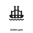 Golden gate icon vector isolated on white background, logo concept of Golden gate sign on transparent background, black filled symbol