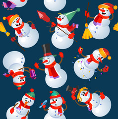 Christmas seamless pattern design with snowmans. Vector illustration