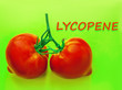 Leinwandbild Motiv the inscription is lycopene. on the background of tomato fruit. pigment antioxidants, beneficial to health.