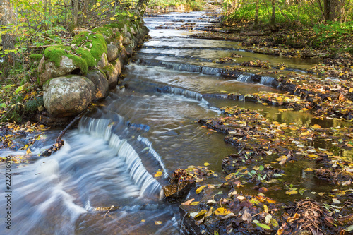 Stream with water flowing over slate stone
