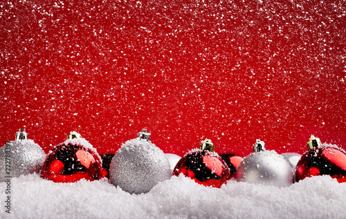 Poster New Year background with christmas tree decorations
