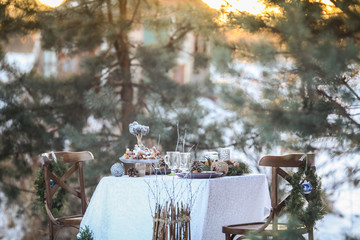 Wedding winter decor in outdoor