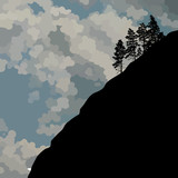 Drawn silhouette of a steep mountainside with single trees against the sky - 222796164