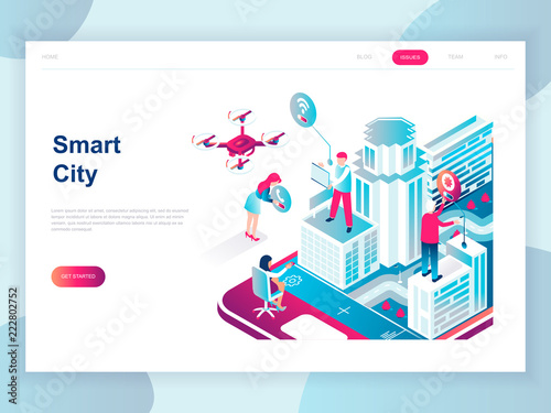 Modern flat design isometric concept of Smart City for banner and website. Isometric landing page template. Business center with skyscrapers, streets of the city connected roads. Vector illustration.