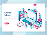 Modern flat design isometric concept of Online Library for banner and website. Isometric landing page template. Technology and literature, digital culture on media library. Vector illustration. - 222802974