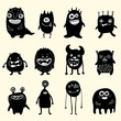 set of black and white monsters - 222804784