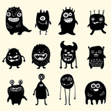 set of black and white monsters