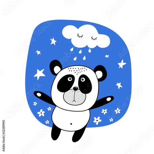 Fototapeta vector illustration bear panda on blue background with stars and cloud
