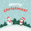 Snowman and penguin. Holiday card. Merry Christmas! Winter landscape. - 222823560