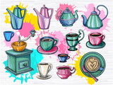 Colorful set of different cups, porcelain teapots for coffee, tea, cappuccino, coffee grinder, coffee mill. Sketch style, color splash. Hand drawn vector illustration - 222823968