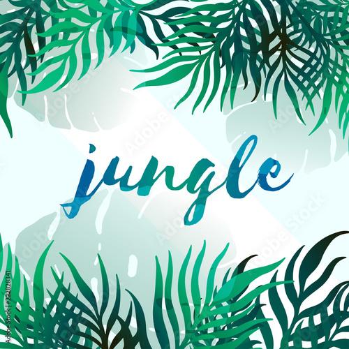 Wektorowi tropikalnych liści sztandary na białym tle. Egzotyczny design botaniczny na party plakat, kosmetyki, spa, perfumy, produkty do pielęgnacji zdrowia, zapach, zaproszenie na ślub, baneru internetowego.