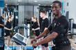 Leinwanddruck Bild - Sporty man training EMS in gym
