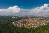 Tomsk cityscape and Tom river from aerial view. Modern city view. Siberia, Russia