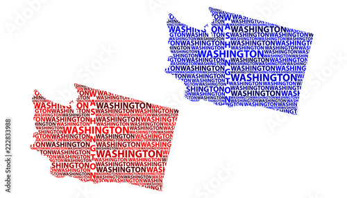 Sketch Washington (state) (United States of America) letter text map ...