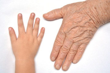 Young child holding her grandparent for the hand,selective focus