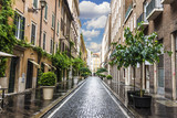 Empty Italian street with stone-pavement, trees and blue sky