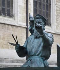 Brussels, Belgium - August 19, 2018: Pieter Bruegel the Elder bronze statue in Brussels, Belgium.