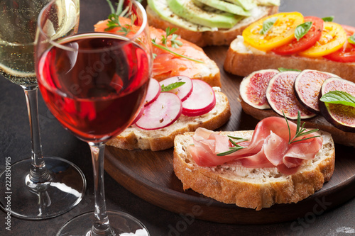 Brushetta or traditional spanish tapas - 222850915