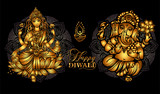 Happy Diwali Lakshmi and Ganesha - 222856109